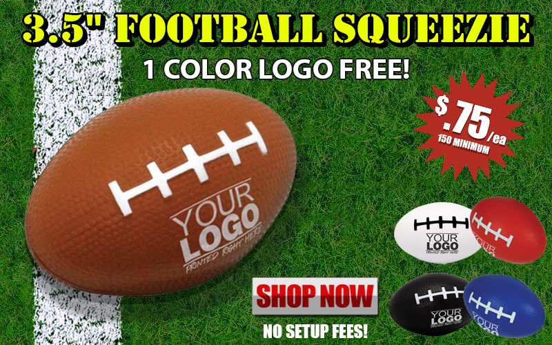 Promotional 3.5 inch Football Squeezie Stress Relievers