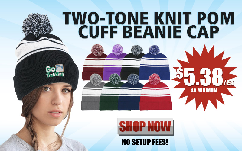 Promotional Two-Tone Knit Pom Cuff Beanie Cap