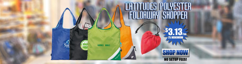Promotional Latitudes Polyester Foldaway Shopper