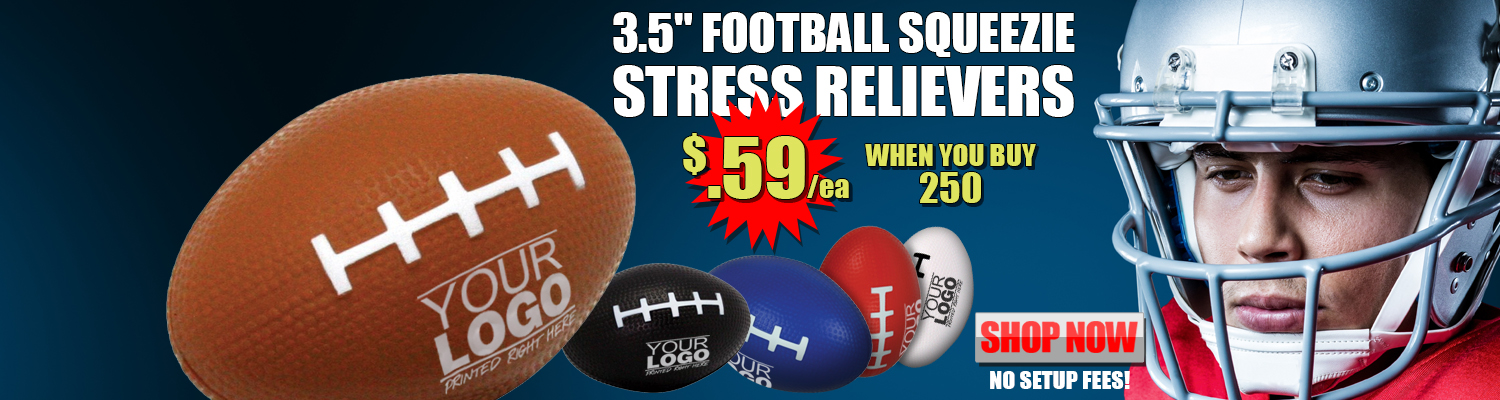 Promotional 3.5 in. Football Squeezie Stress Relivers