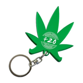 Promotional Cannabis Pot Leaf Bottle Opener Key Chain