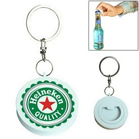 Promotional Full Color Round Bottle Opener Key Chain