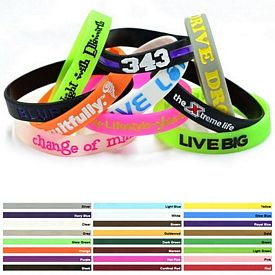 Customized 1-2-Inch Colorfilled Silicone Wristbands