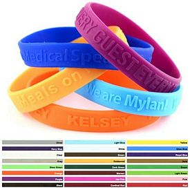 Custom 1-2-Inch Embossed Silicone Awareness Wristbands