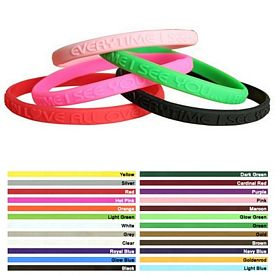 Customized 1-4-Inch Mini Embossed Silicone Awareness Wristbands