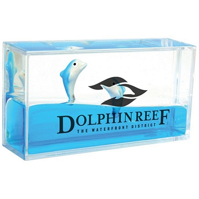 Promotional Mini Dolphin Liquid Wave Paperweight
