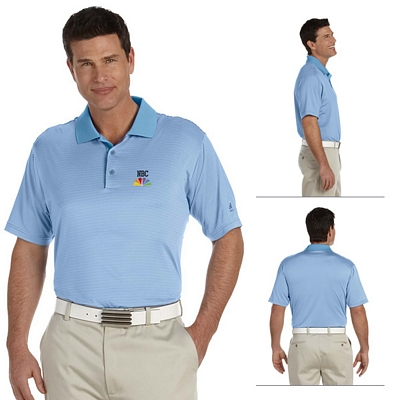 Customized adidas A119 Mens ClimaLite Classic Stripe Short-Sleeve Polo