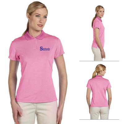 Customized adidas A120 Ladies ClimaLite Classic Stripe Short-Sleeve Polo