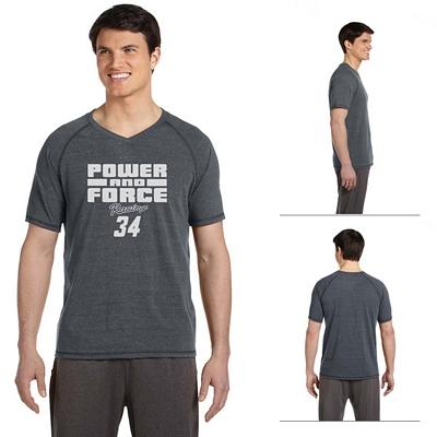 Customized All Sport M1105 Mens Performance Triblend Short-Sleeve V-Neck T-Shirt