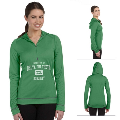 Customized All Sport W3002 Ladies 1-2 Zip Long-Sleeve Hoodie