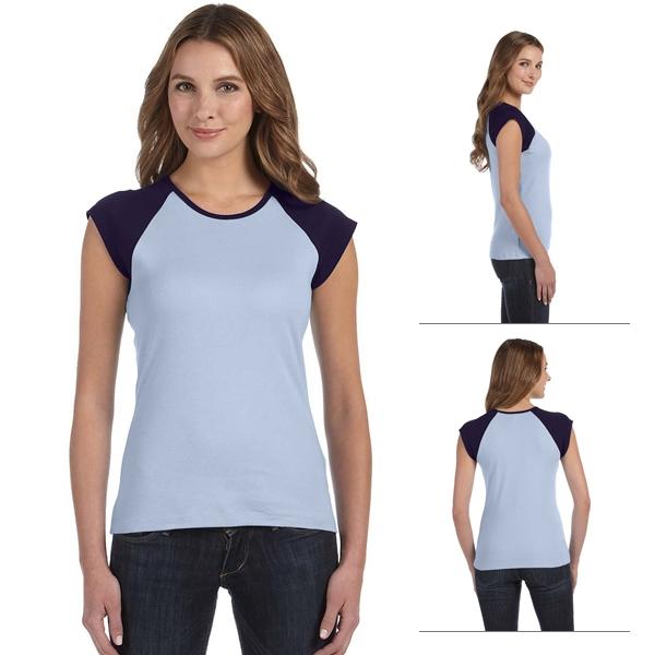 73dbf81d9c Bella B2020 Ladies' Baby Rib Cap-Sleeve Contrast Raglan T-Shirt  (Non-Printed)