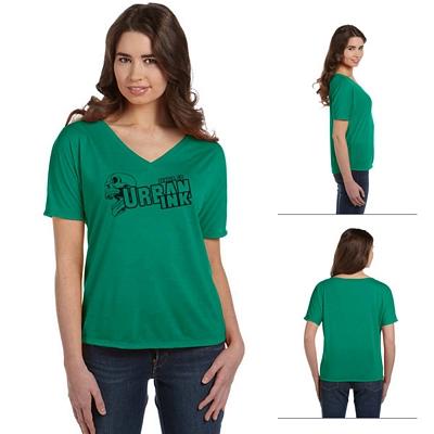 Customized Bella 8815 Ladies' Flowy Simple V-Neck T-Shirt