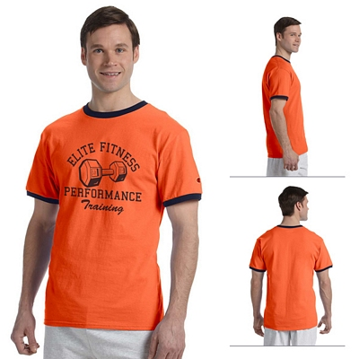 81e6704f Champion T1396 6.1 oz Tagless Ringer T-Shirt | Screen Printed Logo ...
