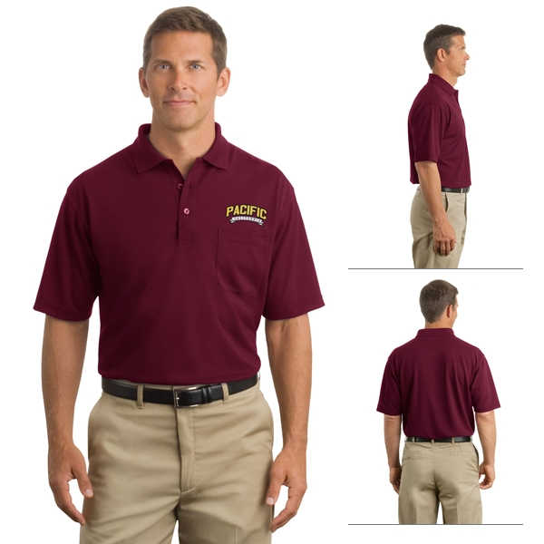 Cornerstone cs402p industrial pocket pique polo for Work polo shirts with logo