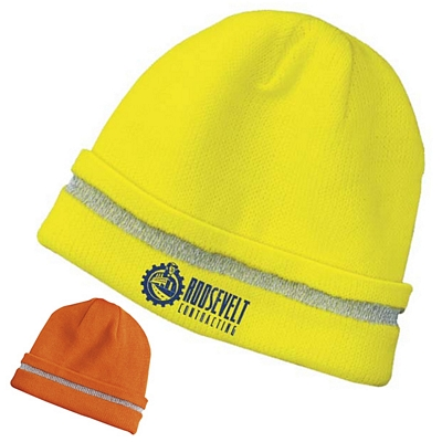Customized CornerStone CS800 Enhanced Visibility Beanie with Reflective Stripe