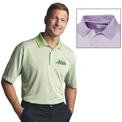 Customized Cutter & Buck MCK00332 Mens CB DryTec Trevor Stripe Polo