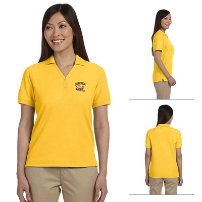 Customized Devon & Jones D100W Ladies Pima Pique Short-Sleeve Y-Collar Polo