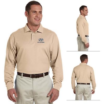Customized Devon & Jones D110 Mens Pima Pique Long-Sleeve Polo