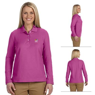 Customized Devon & Jones D110W Ladies Pima Pique Long-Sleeve Polo