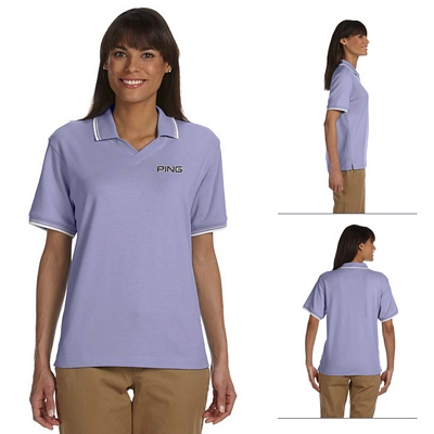 Customized Devon & Jones D140W Ladies Tipped Perfect Pima Interlock Polo