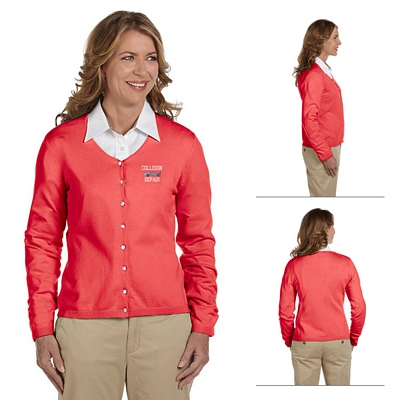 Customized Devon & Jones DP450W Ladies Stretch Everyday Cardigan Sweater
