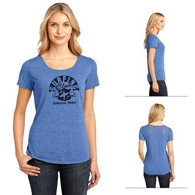 Customized District Made DM441 Ladies' Tri-Blend Lace Tee