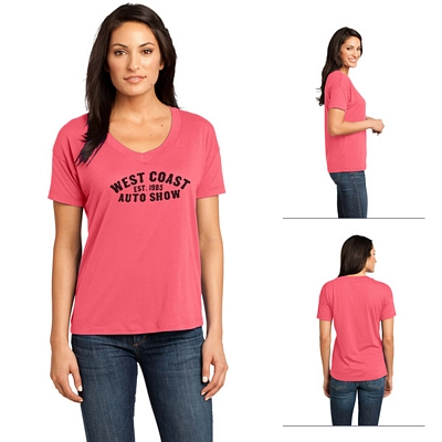 Customized District Made DM480 Ladies' Modal Blend Relaxed V-Neck Tee