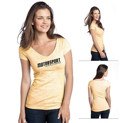 Customized District DT2001 Junior Ladies' Extreme Heather Cap Sleeve V-Neck Tee
