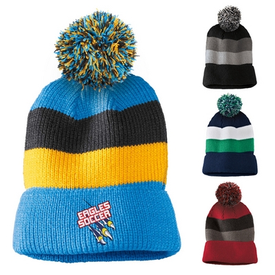 Customized District DT627 Vintage Removable Pom Striped Beanie Cap