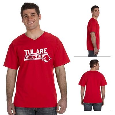Customized Fruit of the Loom 39VR Men's 5 oz 100% Heavy Cotton HD V-Neck T-Shirt