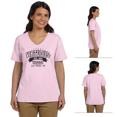 Customized Hanes 5780 Ladies' 5.2 oz ComfortSoft V-Neck Cotton T-Shirt