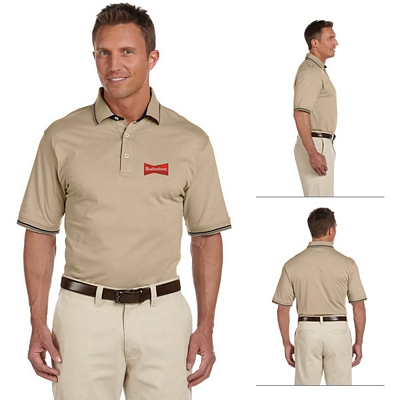 Customized Harriton M140 Mens 5.9 oz Cotton Jersey Short-Sleeve Polo with Tipping