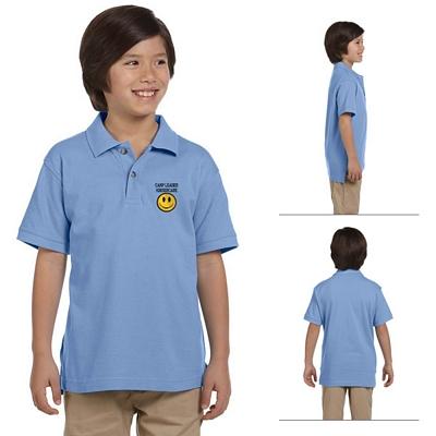 Customized Harriton M200Y Youth 6 oz Ringspun Cotton Pique Short-Sleeve Polo