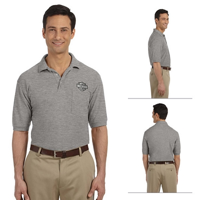 Customized Harriton M265P 5.6 oz Easy Blend Polo with Pocket