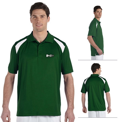 Customized Harriton M318 4 oz Polytech Colorblock Polo