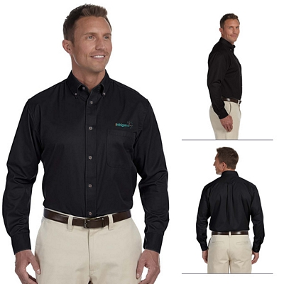 Customized Harriton M500 Mens Long-Sleeve Twill Shirt with Stain-Release