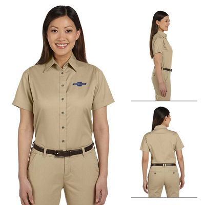 Customized Harriton M500SW Ladies Short-Sleeve Twill Shirt with Stain-Release