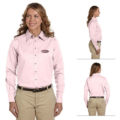 Customized Harriton M500W Ladies Long-Sleeve Twill Shirt with Stain-Release