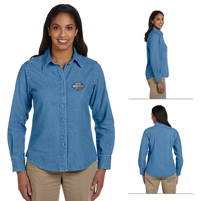 Customized Harriton M550W Ladies Long-Sleeve Denim Shirt