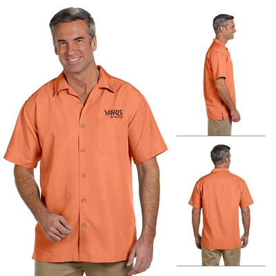 Customized Harriton M560 Mens Barbados Textured Camp Shirt