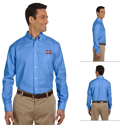 Customized Harriton M600 Mens Long-Sleeve Oxford with Stain-Release