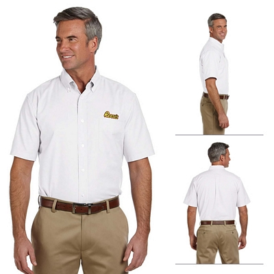 Customized Harriton M600S Mens Short-Sleeve Oxford with Stain-Release