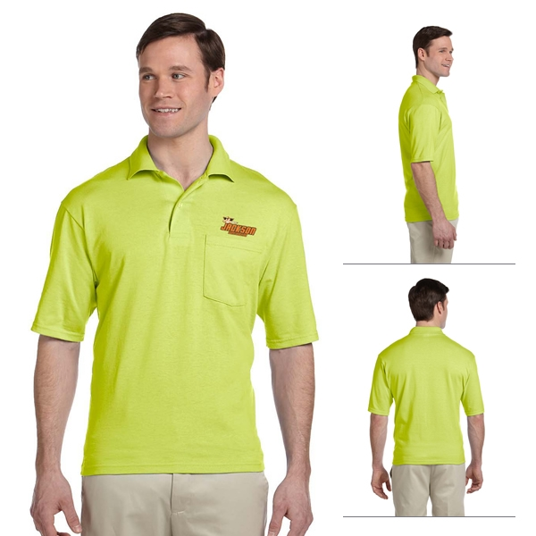 81376091 Customized Jerzees 436P 5.6 oz 50/50 Jersey Pocket Polo with SpotShield