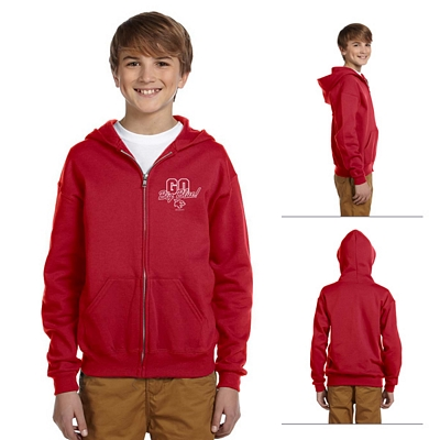 Customized Jerzees 993B Youth 8 oz NuBlend 50/50 Full-Zip Hood