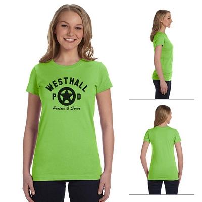 Customized LAT 3616 Junior Fine Jersey Longer Length T-Shirt