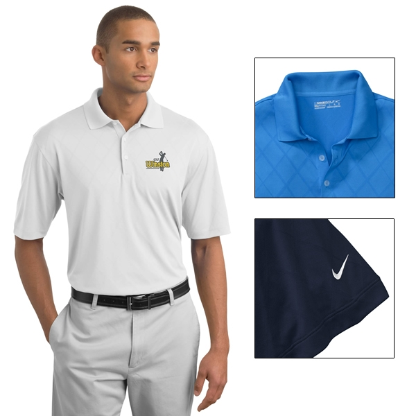 Nike Golf 349899 Dri Fit Cross Over Texture Polo Shirt Embroidered