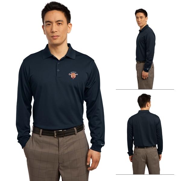 38205098872 Customized Nike Golf 466364 Men's Long Sleeve Dri-FIT Stretch Tech Polo