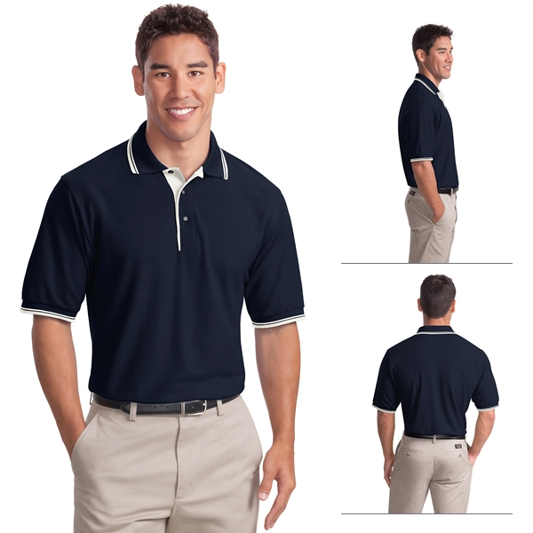 5bc99899 Port Authority K501 Silk Touch Polo with Stripe Trim (Non-Printed ...