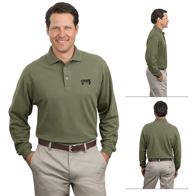 Customized Port Authority K320 Long Sleeve Pique Knit Polo