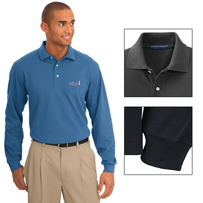 Customized Port Authority K455LS Men's 5.6 oz Rapid Dry Long Sleeve Polo